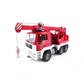 Carro dos bombeiros Man TGA com grua e módulo de luz e som Bruder 1:16
