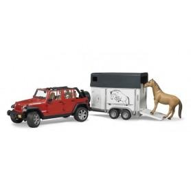 Jeep Wrangler Unlimited Rubicon com atrelado para cavalo e cavalo - Bruder