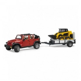 Jeep Wrangler Unlimited Rubicon com reboque e mini carregadora Caterpillar - Bruder