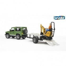 Land Rover Defender com reboque de um eixo, micro escavadora - Bruder