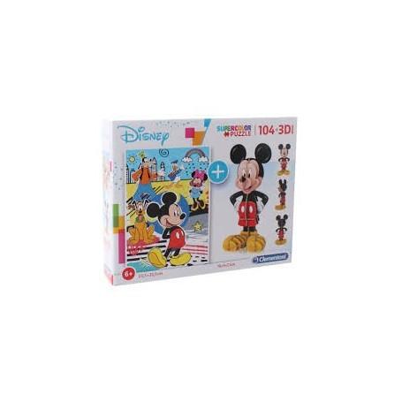 Puzzle SuperColor 104 pçs 3D Mickey Mouse - Clementoni