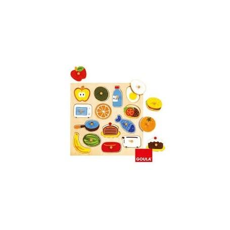 Puzzle Madeira de Encaixe Comida 2+ - Goula