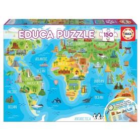 Puzzle 150 peças Mapa Mundo Monumentos - Educa