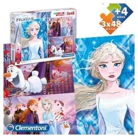 Puzzle 3x48 peças SuperColor Frozen II - Clementoni
