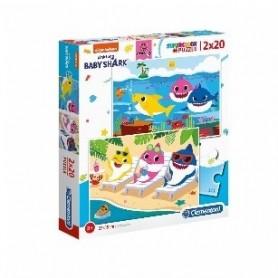 Puzzle 2x20 SuperColor Baby Shark - Clementoni